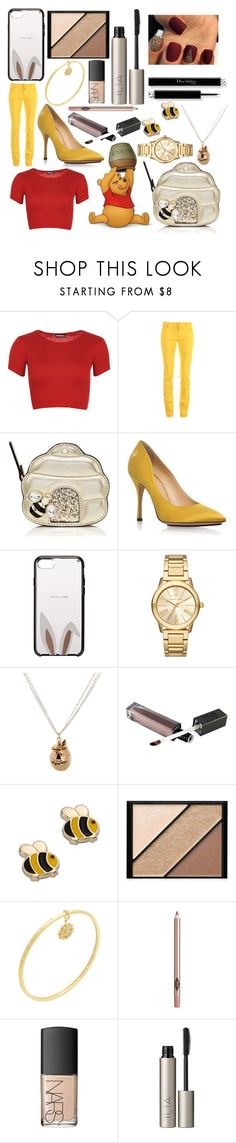 """""""Winnie the Pooh Contest!"""" by sisibff ❤ liked on Polyvore featuring WearAll, Love Moschino, Kate Spade, Charlotte Olympia, Michael Kors, Disney Couture, Elizabeth Arden, Freida Rothman, NARS Cosmetics and Ilia"""