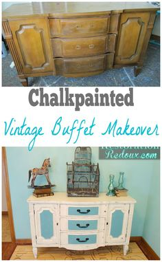 Ivory Chalkpainted Buffet Makeover