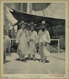 The Koreans on board ship. Charles D. Graves, artist, 1894. Mid-Manhattan Picture Collection.