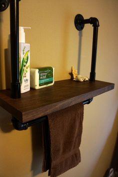 Walnut and Iron Shelf With Towel Bar