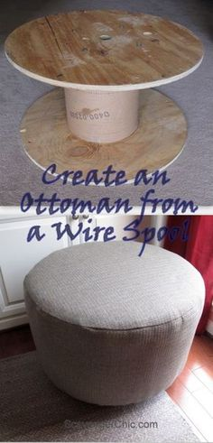 Upcycled Wire Spool Ottoman
