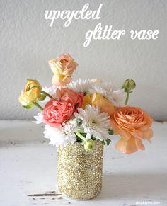 Upcycled Glitter Vase DIY | A Bubbly Life: Upcycled Glitter Vase DIY