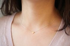 Initial necklace everyday necklace 14k solid gold by moncadeau, $50.00