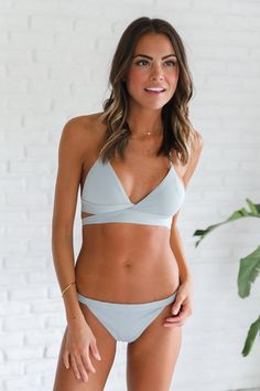 Stone Seamless Wrap Around Halter Bikini Top