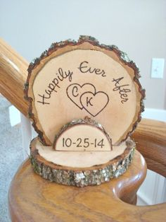 Wedding Cake Topper Rustic Wood Romantic Personalized Wood Burned