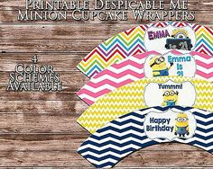 "Printable ""Despicable Me Cupcake Wrappers"" ""Minion Cupcake Wrappers"" 