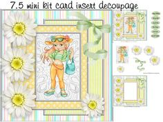 ready for spring mini kit on Craftsuprint designed by Cynthia Berridge - ready for spring mini kit card insert and decopage - Now available for download!
