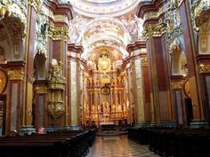 We pick the ornate  church at the Stift Melk ( Melk Abbey) in Austria's enchanting wine country along the Danube as the prettiest church in the world. Sadly, the photos just can not do it justice, as it is yet another one of those places that must be experienced in person.