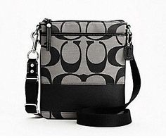 Coach Signature Stripe Swingpack Crossbody Messenger Bag Purse 45797 Black White (have it )