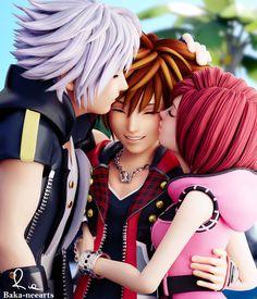 Riku, Sora, and Kairi (Kingdom Hearts) Vanitas Kingdom Hearts, Kairi Kingdom Hearts, Kingdom Hearts Funny, Kingdom Hearts Games, Kingdom Hearts Characters, Kingdom Hearts Fanart, Cry Anime, Anime Art, Organization Xiii