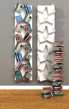 Quer dar um 'up' na decoração do seu lar sem investir muito? Opte por estantes com formatos inusitados! #dica #home