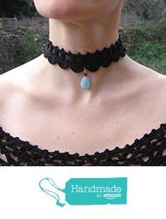 Collier au crochet ruban satin ras du cou choker victorien gothic victorian au crochet perles pendentif amazonite facetté cadeau de Noël à partir des LilithCreation-Boutique https://www.amazon.fr/dp/B01M3VHG9S/ref=hnd_sw_r_pi_dp_b45eybNYQ8TS3 #handmadeatamazon