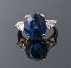 """Boucheron"" No Heat Oval Sapphire and Diamond Ring  18K (22 x 13mm)  Boucheron  S=13.33cts (GIA) + D=1.50cts app  $160,000"