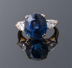 """Boucheron"" No Heat Oval Sapphire and Diamond Ring  18K (22 x 13mm)  Boucheron  S=13.33cts (GIA) + D=1.50cts app  $160,000"