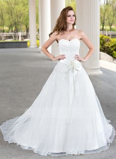 $196.99 - Ball-Gown Sweetheart Court Train Organza Satin Wedding Dress With Lace Beading Flower(s) without the sash