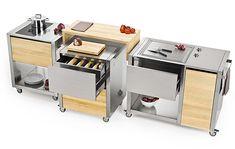 theCun kitchen by Italian brandJoko Domusis based on amodular cart system.