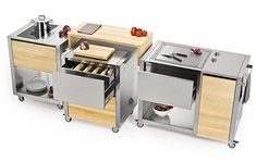 the Cun kitchen by Italian brand Joko Domus is based on a modular cart system.