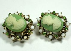 Antique green cameo earrings