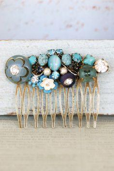 Something Blue Wedding Ideas   Blue Antique Brass Hair Comb
