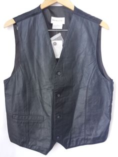 Leather Vest Large Bloomingdale's Black Men New with Tags  #Bloomingdales #leather #vest
