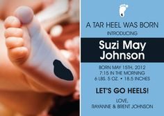 UNC Chapel Hill Baby Announcement, but could I make this into a bday invite...