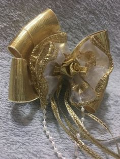 Items similar to Handmade Gold Hair Bow, Tail Streamers on Etsy Gold Hair Bow, Handmade Hair Bows, Gold Ribbons, Gold Sparkle, Streamers, Pearl Beads, Heavenly, Brooch, Pearls