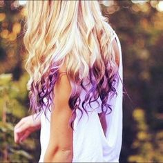 Blonde and purple hair extensions