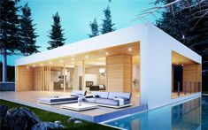 casa di 1 piano Archives - Page 2 of 2 - Norges Hus Italia - Case prefabbricate Prefabricated Houses, Prefab Homes, Modern House Plans, Modern House Design, Minimal Home, Container House Design, Pool Houses, House In The Woods, House Prices