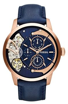 Fossil Townsman Multi-Function Rose Gold Navy Blue Leather Watch For Men. Fossil Watches For Men. Watch Gift Ideas For Him/BoyFriend/Husband. Fossil Watches For Men, Cool Watches, Casual Watches, Wrist Watches, Women's Watches, Skeleton Watches, Patek Philippe, Beautiful Watches, Luxury Watches