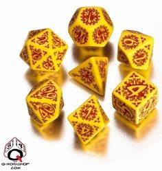 Q-Workshop Polyhedral Set: Pathfinder Legacy of Fire Dice Dungeons And Dragons Dice, Dragon Dies, Dark Elf, Workshop, Fire, Yellow, Adventure, Rollers, Elves