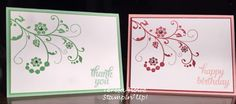 Stampin Up Flowering Florishes card stamp set idea. happy birthday card thank you card