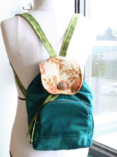 Mini Backpack Drawstring Bag in Green & Floral Print Eco Friendly by blissjoybull on etsy
