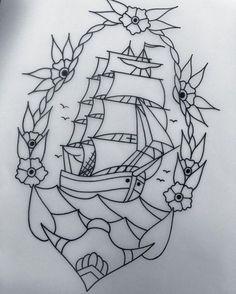 American Traditional Tattoos: Photo – American Traditional Tattoos … - Carry ON Traditional Ship Tattoo, Traditional Tattoo Drawings, Traditional Tattoo Old School, Traditional Tattoo Stencils, American Traditional, Tatuagem Old Scholl, Sailor Tattoos, Old School Tattoo Designs, Tattoo Motive