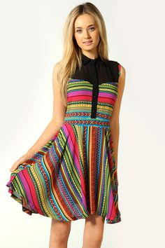 Rita Aztec Stripe Contrast Collar Sleeveless Dress