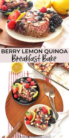 I'm excited to share this fresh and summery Berry Lemon Quinoa Breakfast Bake recipe! It's lemony, bright, and a perfect brunch recipe or make-ahead breakfast recipe. Baked Breakfast Recipes, Baked Oatmeal Recipes, Quinoa Breakfast, Breakfast Bake, Brunch Recipes, Baked Oats, Breakfast Ideas, High Protein Recipes, Healthy Eating Recipes