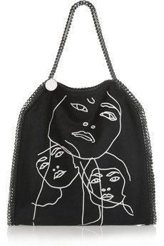 Stella McCartney Falabella Gary Hume faux brushed-suede shoulder bag | NET-A-PORTER