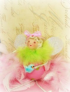 Easter egg pixie fairy ornament spring decor pink and green ooak art doll