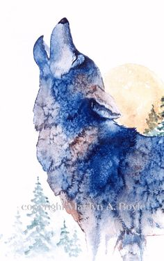 PRINT of WOLF HOWLING at the Moon; art, wildlife, moon, wolf, wilderness, nature, reproduction, howling