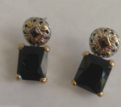 "Black Glass Earrings Jewelry Square Design Hypoallergenic Posts 1"" L Metal New #DavenportDesigns #Studwithslightdangle"