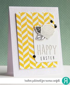 Card by Heather Pulvirenti. Reverse Confetti stamp set: Rose Garden. Confetti Cuts: Rose Garden and Pretty Panels HAPPY. Quick Card Panels: So Very Spring. Easter card. Spring card.