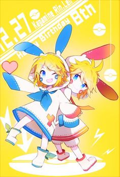 Vocaloid + Pokémon | Rin & Len with Minus & Plus outfits