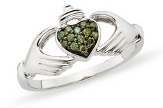 I love claddagh rings and the 'green' diamonds just makes it that much more unique!