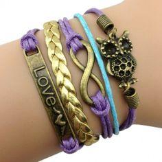 Retro Owl and Love Arm Party Bracelet
