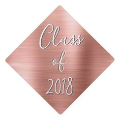 Rose Gold Modern Class of Graduation Graduation Cap Topper - graduation graduate caps topper celebrate party giftidea gift