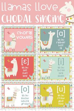 Save the drama for your llama and remind your students what appropriate choral vowels sound like in a fun way with this set of adorable and kid-friendly llama choral vowel IPA posters! Each poster comes in 6 colors: Choir Vowels and Choral Vowels headi Classroom Posters, Music Classroom, School Classroom, Classroom Decor, Music Teachers, Piano Teaching, Student Teaching, Teaching Resources, Elementary Choir