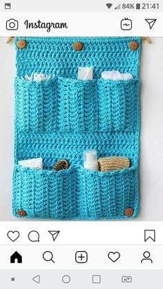 Pattern is written is US crochet terms.The Bathroom Organizer is an exclusive design inside Issue (December of Happily Hooked Magazine.Ravelry: Bathroom Organizer pattern by Ana D Crochet Home, Crochet Crafts, Crochet Doilies, Yarn Crafts, Crochet Projects, Crochet Baby, Cushion Fabric, Crochet Videos, Crochet Slippers