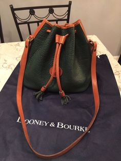 Dooney & Bourke Rare Drawstring Leather Bucket Tote Shoulder Bag Crossbody Purse #DooneyBourke #ShoulderBag BEAUTIFUL!!! SALE!!!
