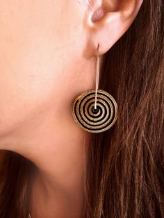Camel black spiral leather silver post light weight by Shulili4U