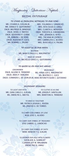 Wedding Invitation Format Entourage: Wedding Invitation List ...