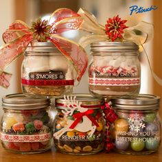 Quick little holiday gifts Christmas Mason Jars, Personalized Labels, Jar Gifts, Gift Jars, Organizing Your Home, Fun Games, Winter Christmas, Christmas Ideas, Homemade Gifts